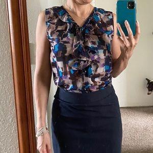 Blue print blouse- Banana Republic